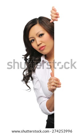Asian Businesswoman holding blank sign isolated on a white background - stock photo