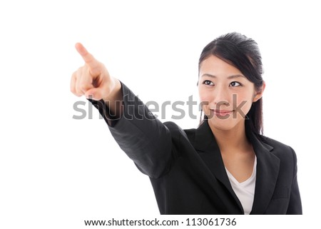 asian businesswoman pointing on white background - stock photo