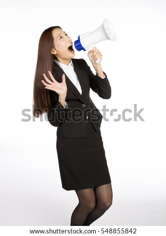 asian businesswoman promoting through megaphone, isolated white background