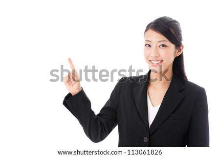 asian businesswoman showing on white background - stock photo
