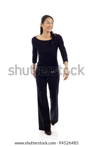 Asian businesswoman walking isolated over white background
