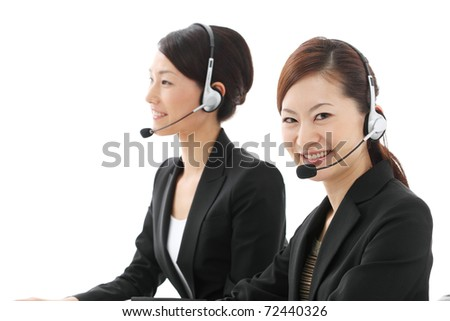 asian businesswoman with headset - stock photo