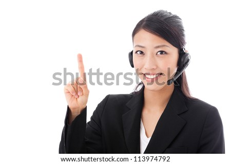asian businesswoman with headset counting on white background