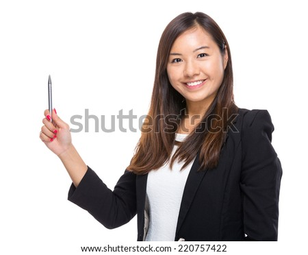 Asian businesswoman with pen point up