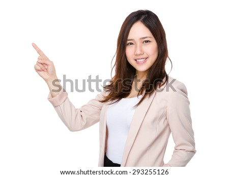 Asian businesswoman with pointer up - stock photo
