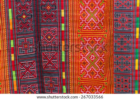 Asian carpet pattern, Thai ethnical style in Vietnam - stock photo