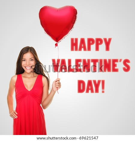 Asian / Caucasian female model holding heart balloon with copyspace message on the side. Happy valentines day! - stock photo