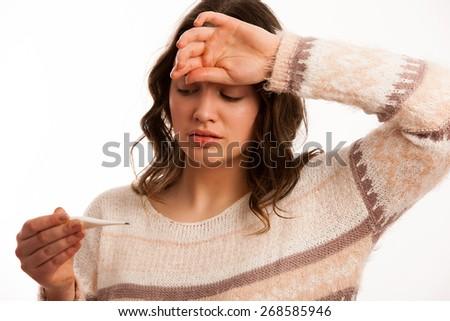 Asian caucasian woman with flu - stock photo