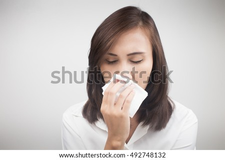 Asian caucasian woman with flu, Cold, Concept with Healthcare And Medicine.