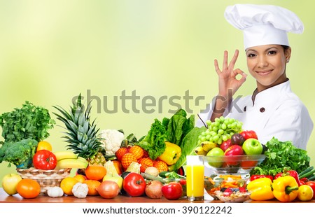 Asian chef woman. - stock photo