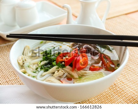 Asian chicken rice noodle soup - stock photo