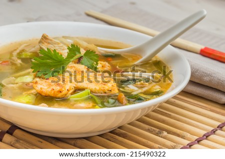 Asian chicken soup with vegetables and cilantro - stock photo