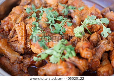 asian chicken with red sauce - stock photo