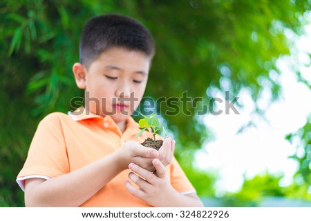 Asian child holding young seedling plant in hands, in garden, on green background, focus on hand, save the earth - stock photo