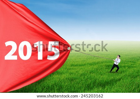 Asian child pulling number 2015 on a big banner outdoors, symbolizing an effort for progress - stock photo