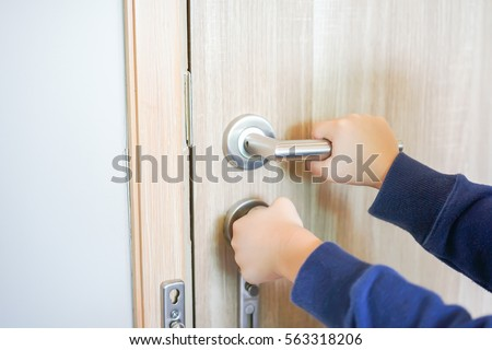 Asian Child Try Openingclose Door Knob Stock Photo 557028598