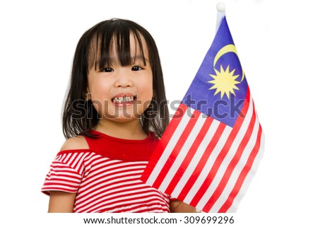 Asian chinese child with Malaysia Flag in isolated white background. - stock photo