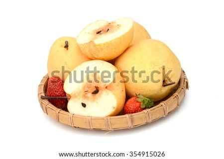 Asian (Chinese or Nashi) Pear Isolated on White Background - stock photo