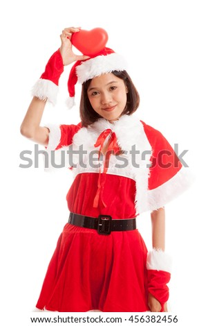 Asian Christmas Santa Claus girl with red heart  isolated on white background