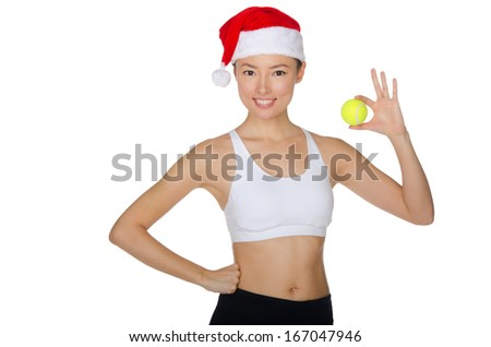 Asian Christmas with tennis ball isolated on white