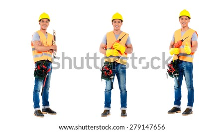 Asian construction worker, compositing of three scenes, isolated on white background - stock photo