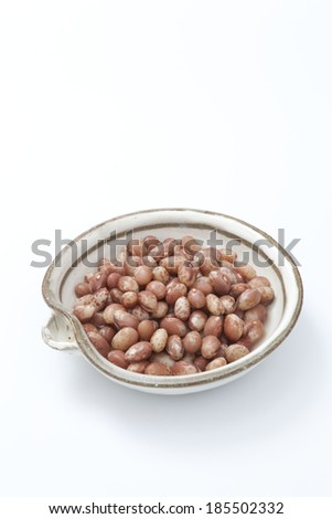 Asian cooked beans on white background  - stock photo