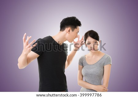 Asian couple argue, closeup portrait with two people. - stock photo