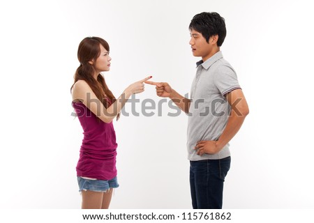 Asian couple fight each other isolated on white background.