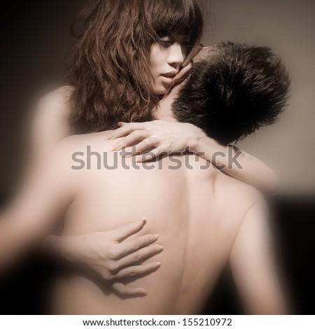 asian  couple sex  man woman lovers hug nude bed couple sexy - stock photo