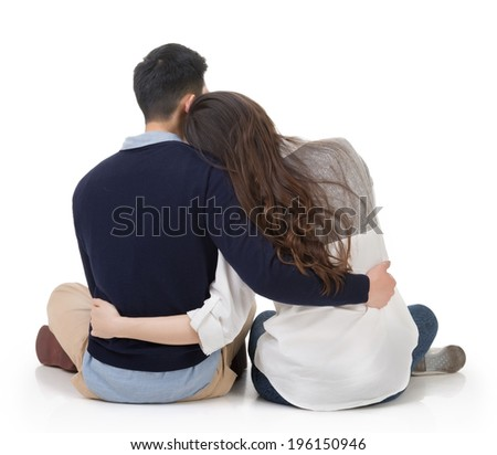 stock photo asian couple sit on ground and hug each other rear view on white background 196150946 - Discover Your Soul Mate With Russian Dating Services