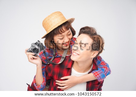 Asian couple travel together