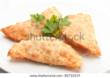 Asian cuisine- chebureki ? pasties isolated on white background decorated with dill - stock photo