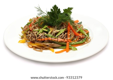 Asian cuisine - udon noodles, food isolated on white (shallow depth of field) - stock photo
