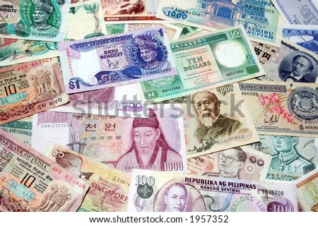 Asian currency background - stock photo