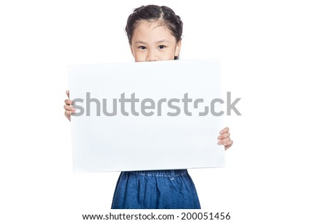 Asian cute girl  hold a blank sign close her mouth isolated on white background