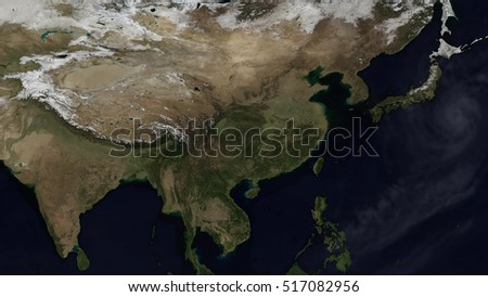 Asian Day Map Space View (Elements of this image furnished by NASA)