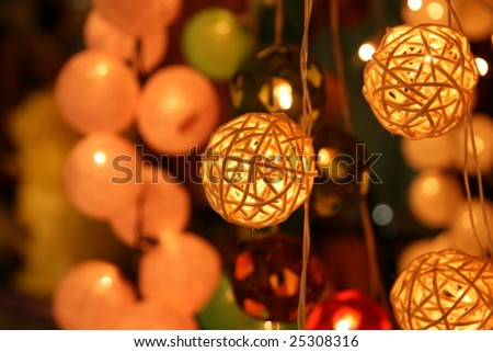 Asian decorative lights in Chiang Mai night market in Thailand
