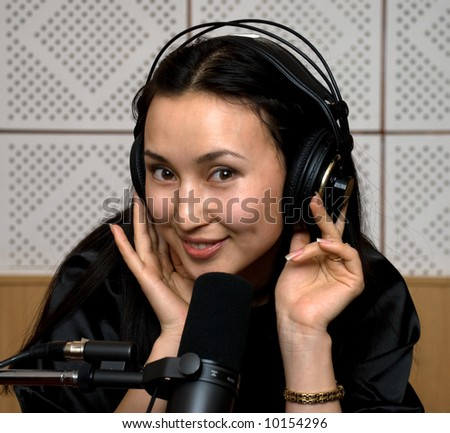 asian dj-girl - stock photo