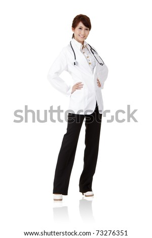 Asian doctor with smiling and confident expression on face standing isolated on white background. - stock photo
