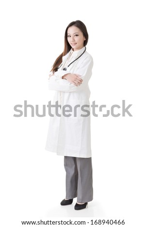 Asian doctor woman, full length portrait isolated on white background. - stock photo