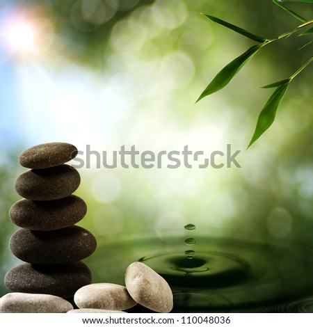 Asian eco backgrounds with bamboo and water splash - stock photo