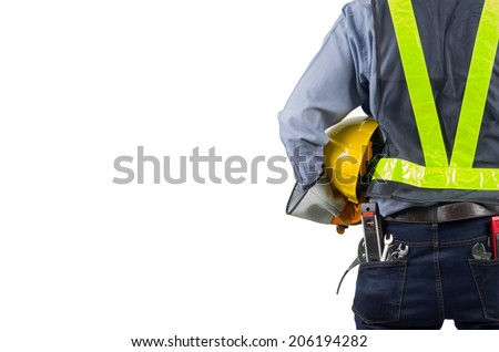 Asian engineer behind with overload tool isolated on white background with clipping path. - stock photo