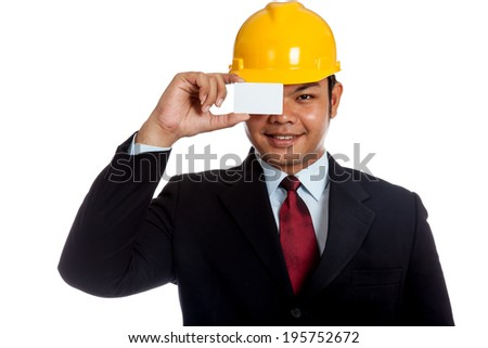 Asian engineer man close his eye with a blank card and smile isolated on white background