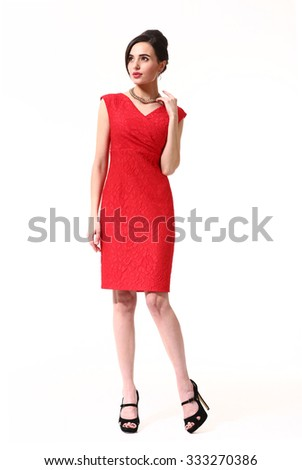 Asian executive woman in party red dress full length portrait isolated on white - stock photo