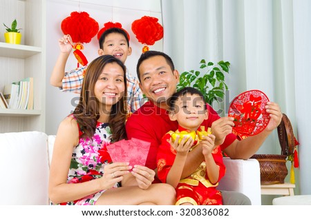 Asian family celebrate chinese new year - stock photo