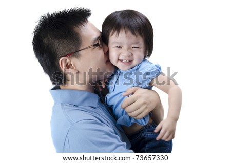 asian father and daugther with isolated white background - stock photo