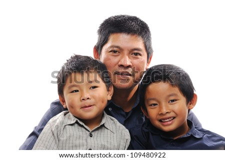 Asian father hug sons looking happy - stock photo