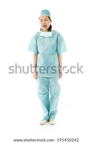 Asian female surgeon shouting
