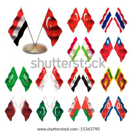 Asian flags 1. Yemen, Turkey, Thailand, Tajikistan, Taiwan,  Singapore, Saudi Arabia, Syria, Sri-Lanka, Qatar, Pakistan, Oman Nothern Korea. - stock photo