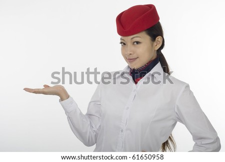asian flight attendant on white background